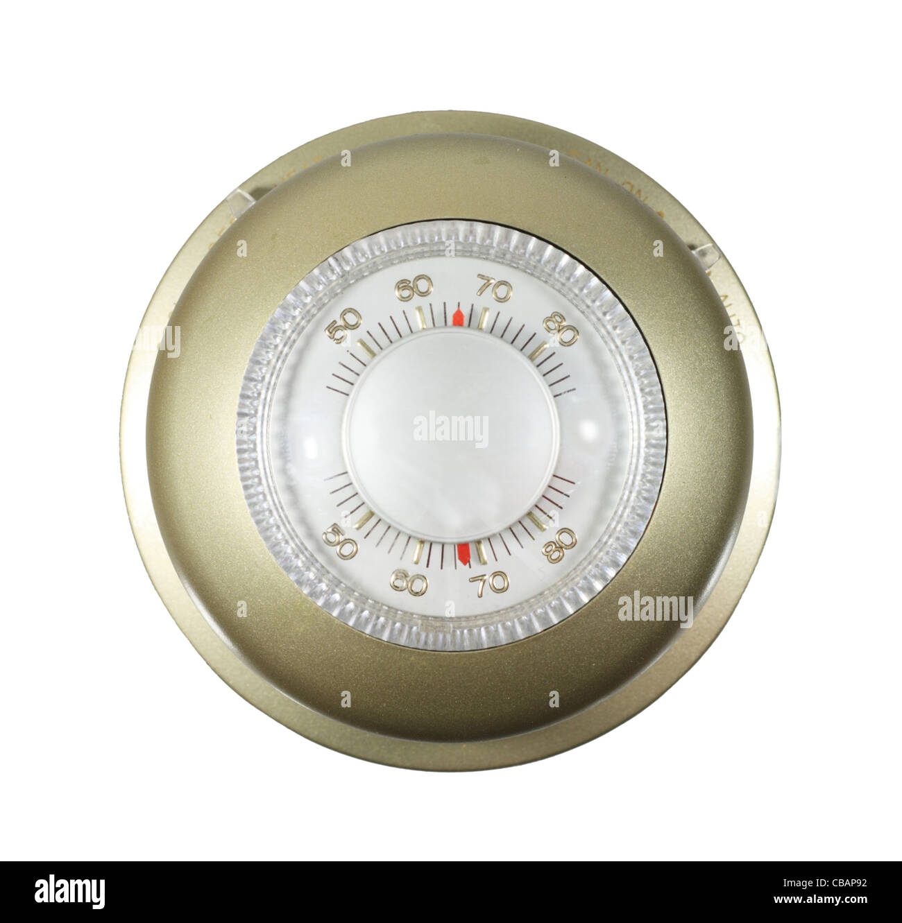 analog thermostat set to 66 degrees isolated on white - Stock Image