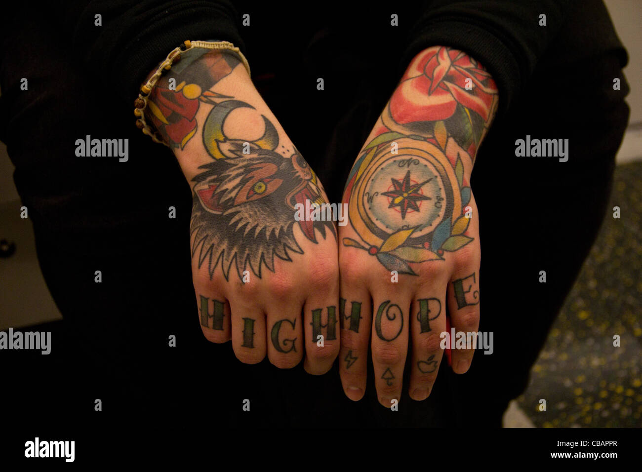541cb62c8 Fully covered hand tattoos. Artistic and beautiful, bright colours. Wolf,  compass, rose and moon imagery. Lettering