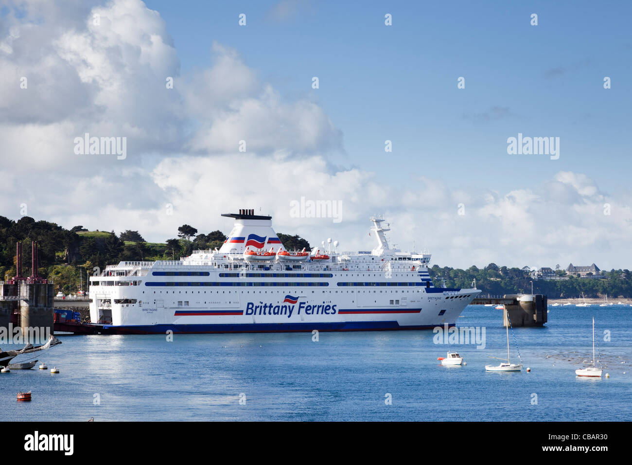Docked Brittany Ferries car ferry - The Bretagne - moored at St Malo, France - Stock Image