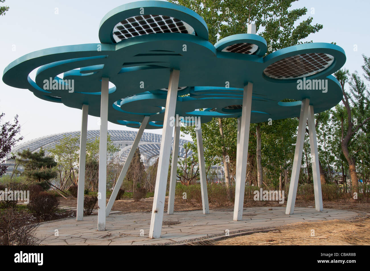 A solar powered sculpture in the garden of the Micro-E Hotel, China Solar Valley, Dezhou, Shandong, China - Stock Image