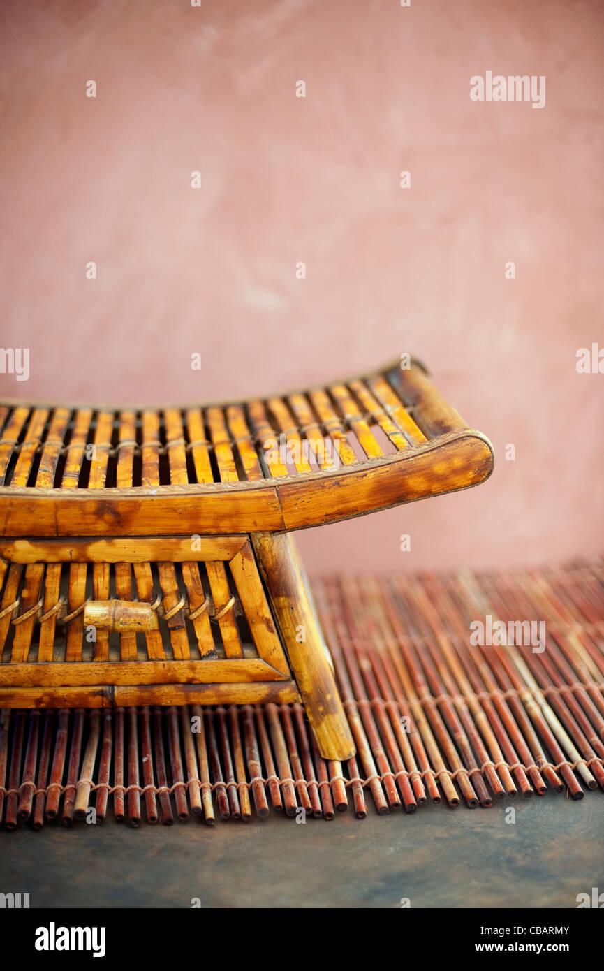Simple bamboo asian tray close-up. - Stock Image