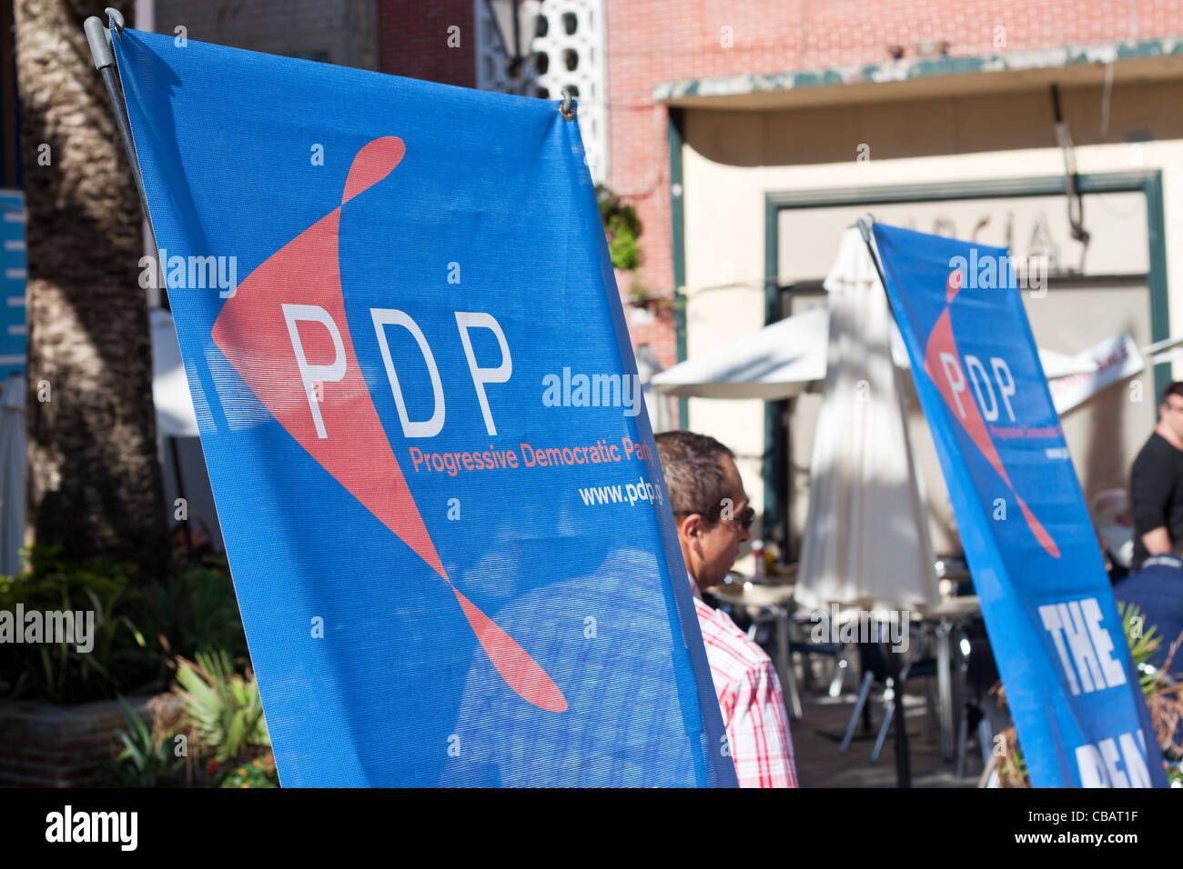 Progressive Democratic Party banner in Gibraltar. - Stock Image