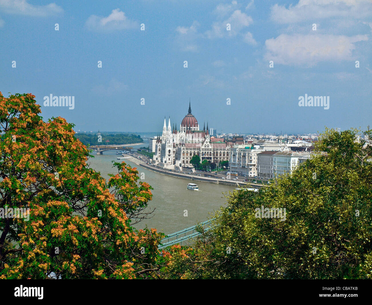 Danube River and the Hungarian Parliament as seen from Castle Hill Budapest, Hungary - Stock Image