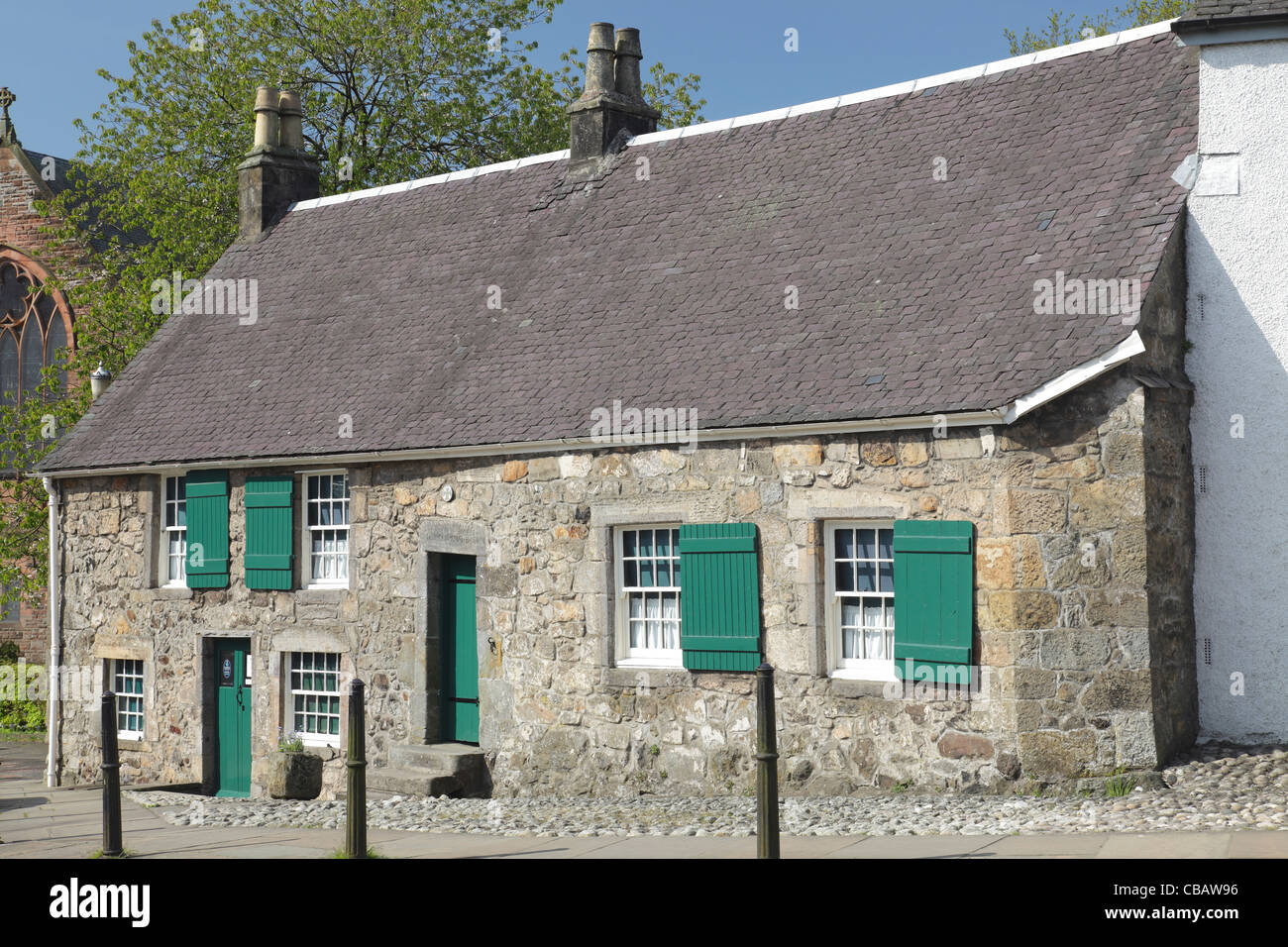 The Weaver's Cottage run by the National Trust for Scotland in Kilbarchan, Renfrewshire, UK - Stock Image