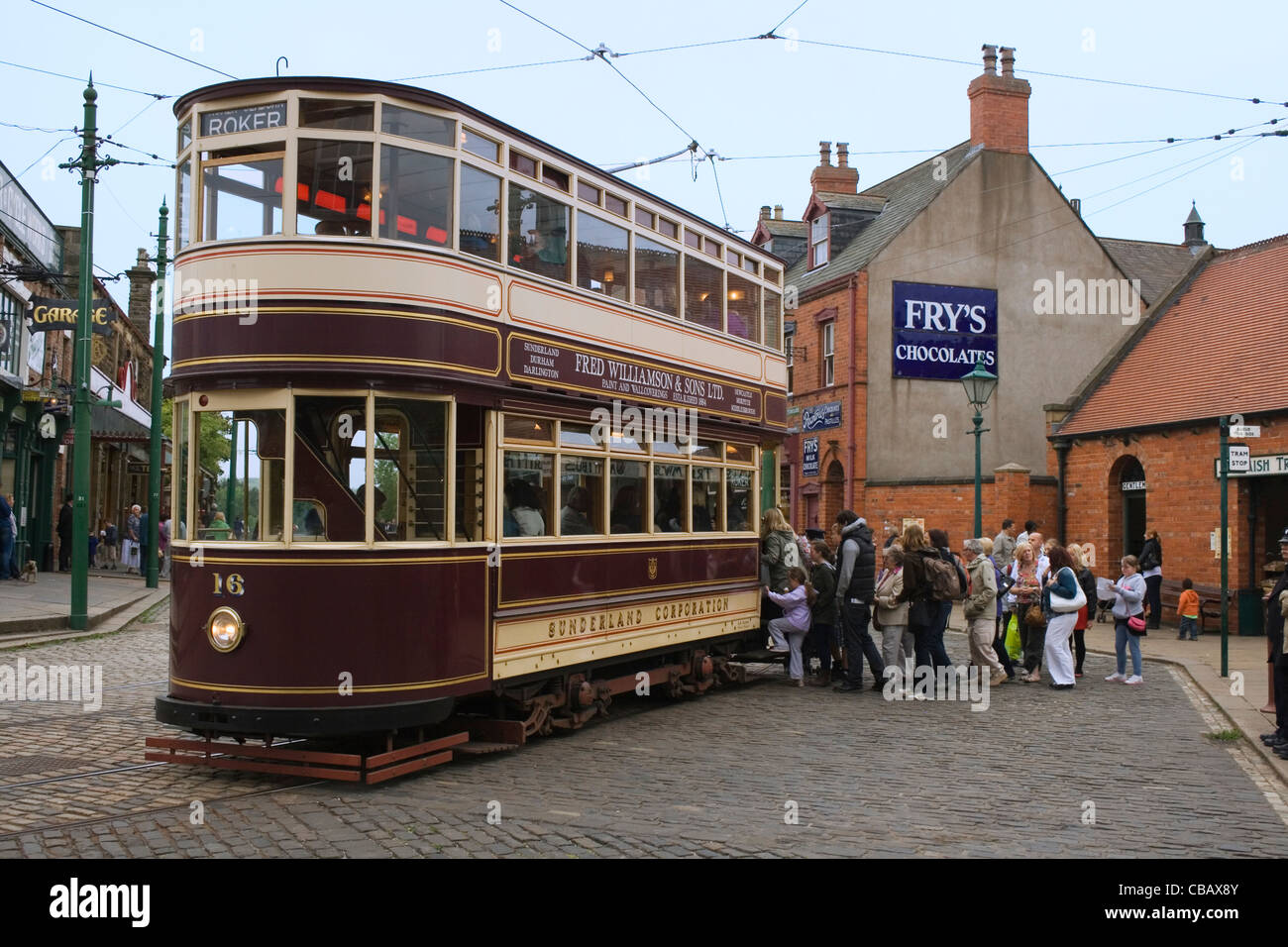 The Sunderland enclosed double-decker tram.  Beamish The North England Open Air Living Museum - Stock Image