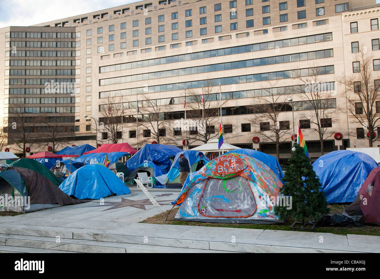 Washington, DC - The Occupy Washington DC camp on Freedom Plaza - Stock Image