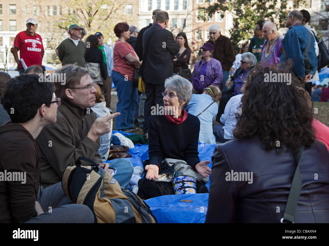 Washington, DC - Interfaith activists meet at the Occupy DC camp in McPherson Square. - Stock Image