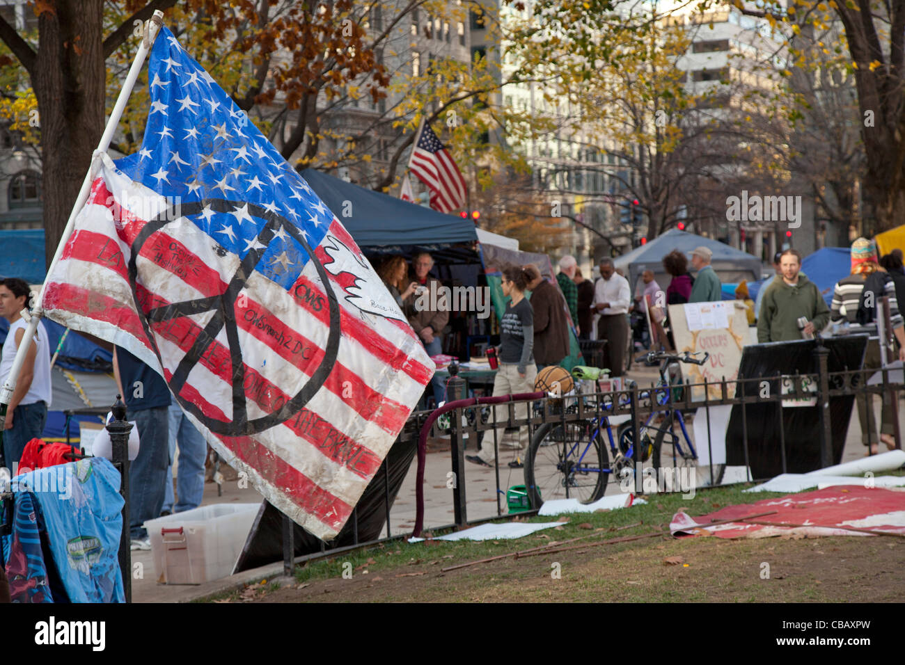 Washington, DC - The Occupy DC camp in McPherson Square. - Stock Image