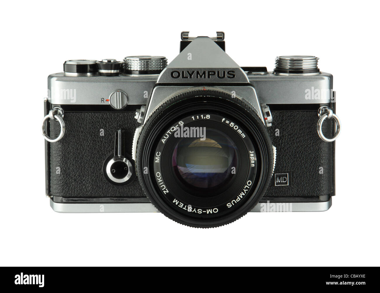 Classic 35mm SLR film camera the Olympus OM1  isolated on white background - Stock Image