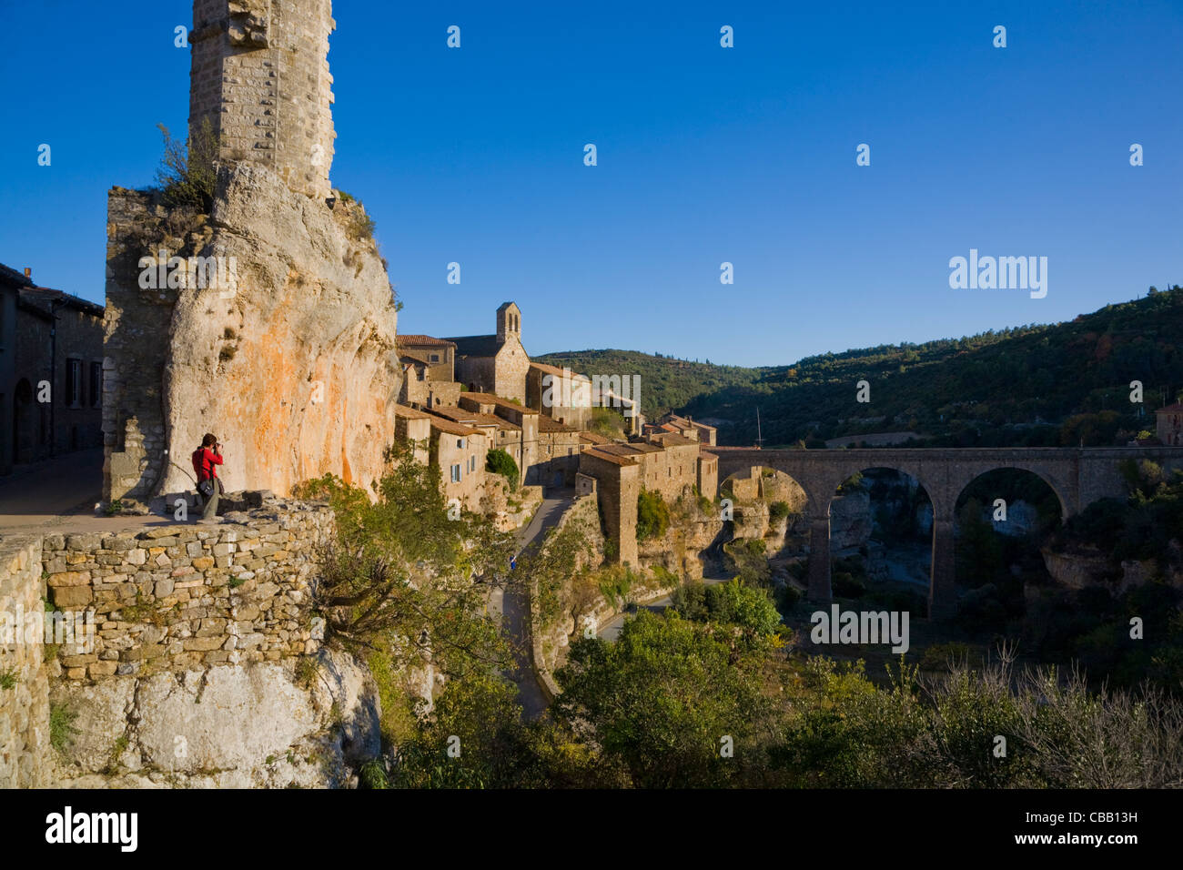 Photographer below the Candela, Minerve, Languedoc-Roussillon, France - Stock Image