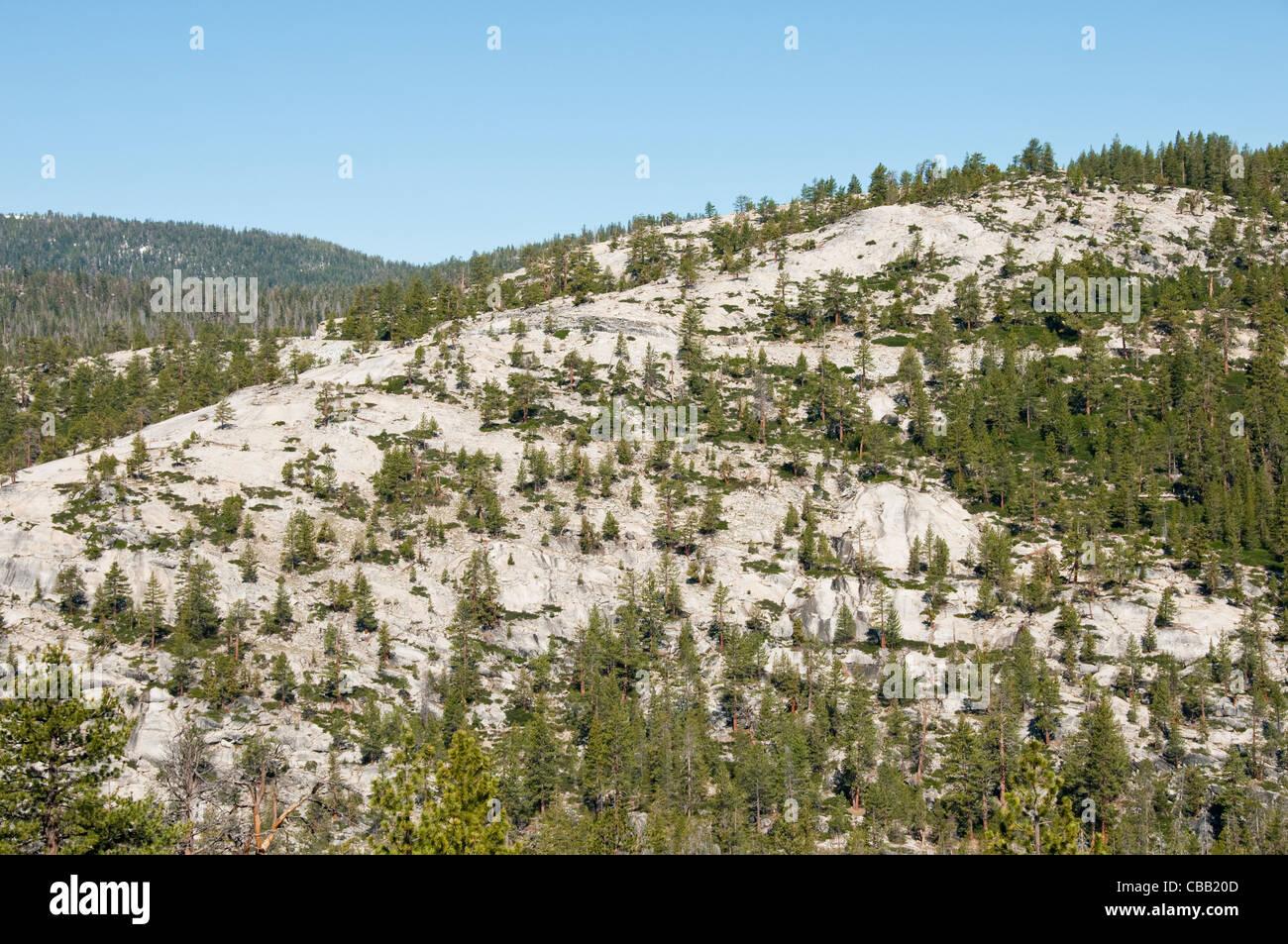 Granite scenic rock slabs mountain high country Yosemite National Park California - Stock Image
