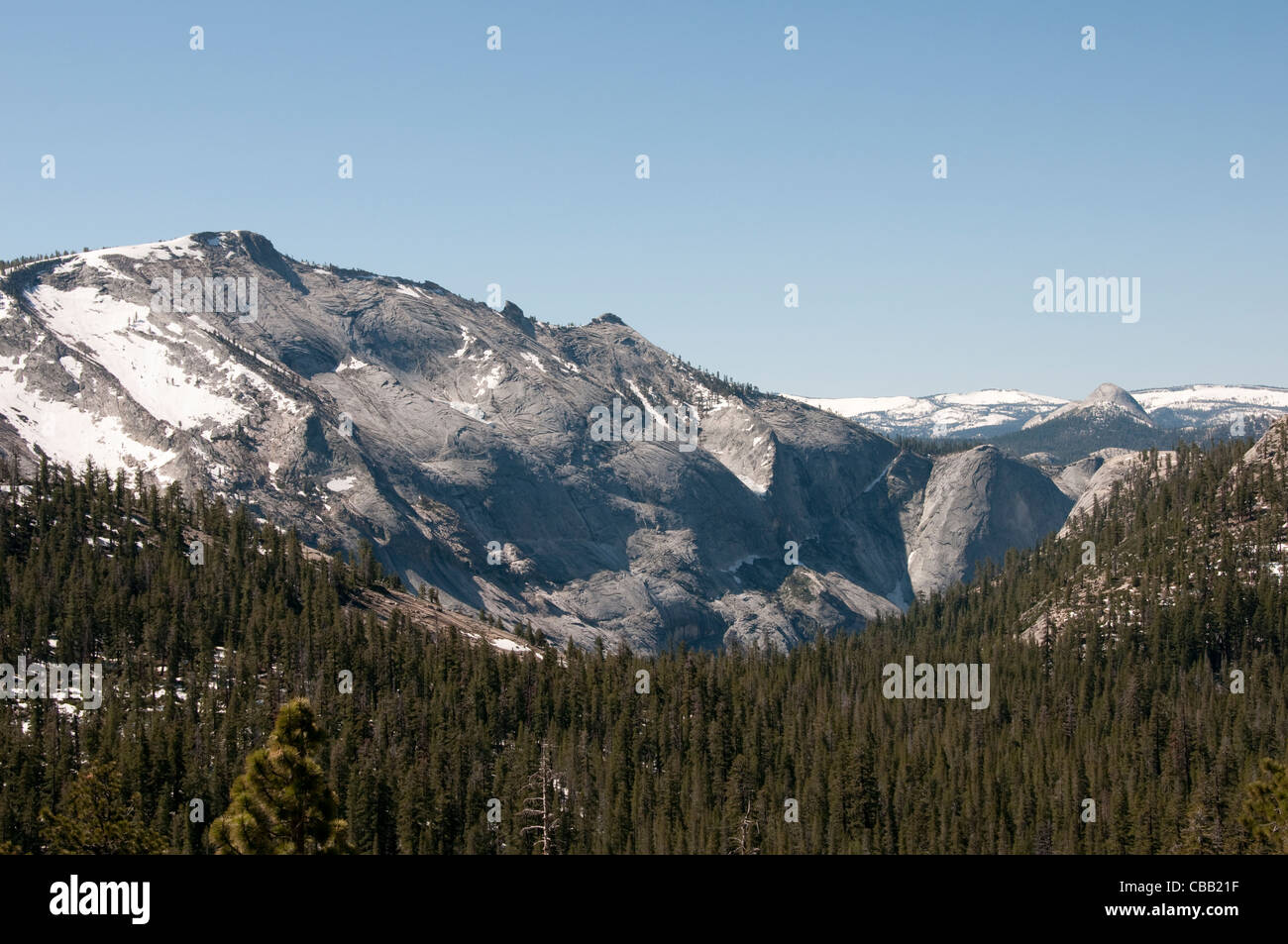 Granite scenic rock slabs mountain high country Yosemite National Park - Stock Image