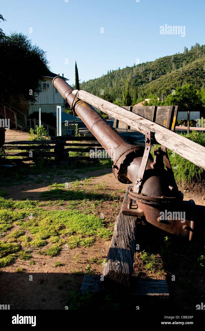 Hydraulic Gold Mining Hose, Mariposa Museum, Mariposa; California, USA. Photo copyright Lee Foster. Photo # california121555 - Stock Image