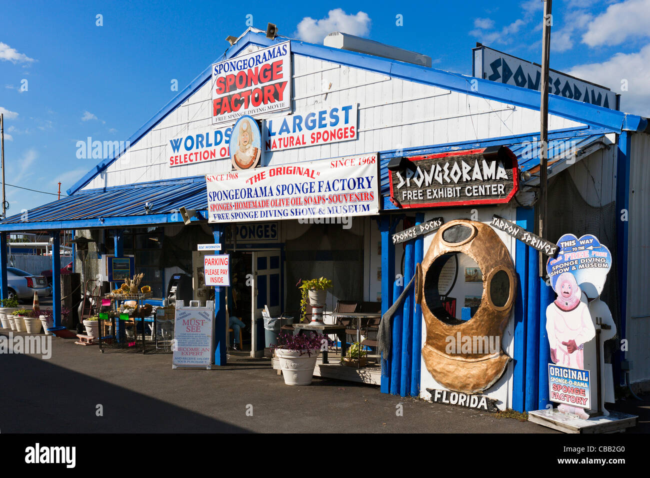 The Spongeorama sponge store in the Sponge Docks, Tarpon Springs, Gulf Coast, Florida, USA - Stock Image
