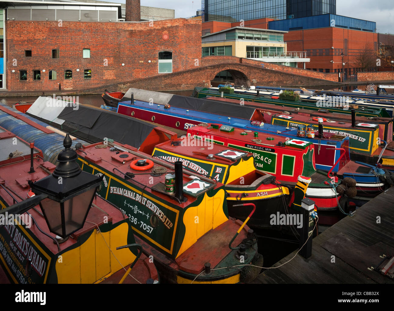 Canal Narrow Boats at the Gas Street Canal Basin- part of the Birmingham-Worcester Canal, Birmingham City Centre, - Stock Image