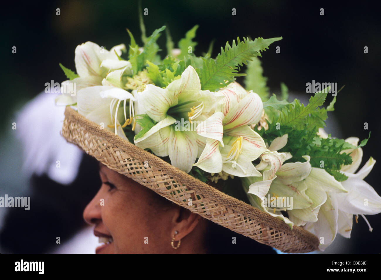 Cook Islands, Kūki 'Āirani, South Pacific Ocean, Rarotonga, native islanders wearing lei at local church celebration - Stock Image