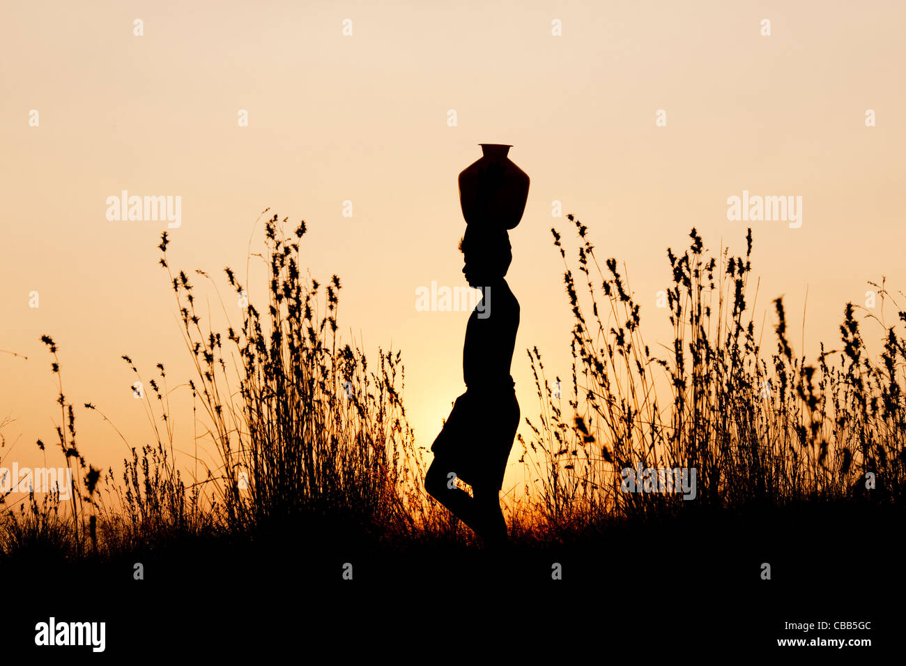indian man walking at sunset carrying a water pot on this head in the indian countryside. Silhouette - Stock Image