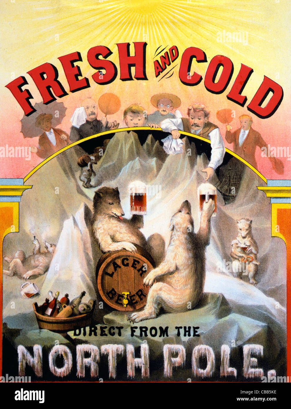 Fresh and cold - Direct from the North Pole - Lager Beer - Vintage Advertisement - Stock Image