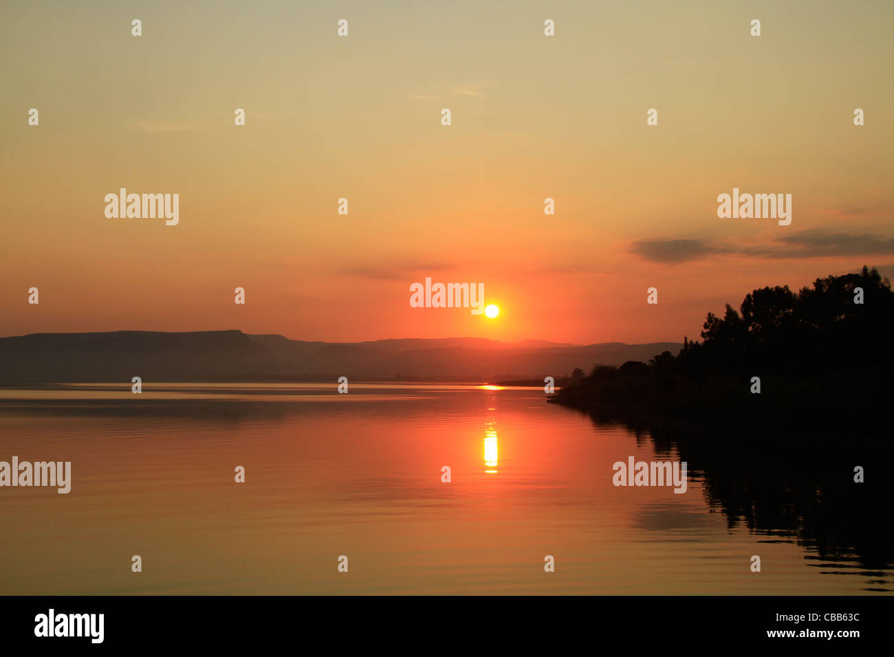 Israel, sunset over the Sea of Galilee at Capernaum Stock Photo