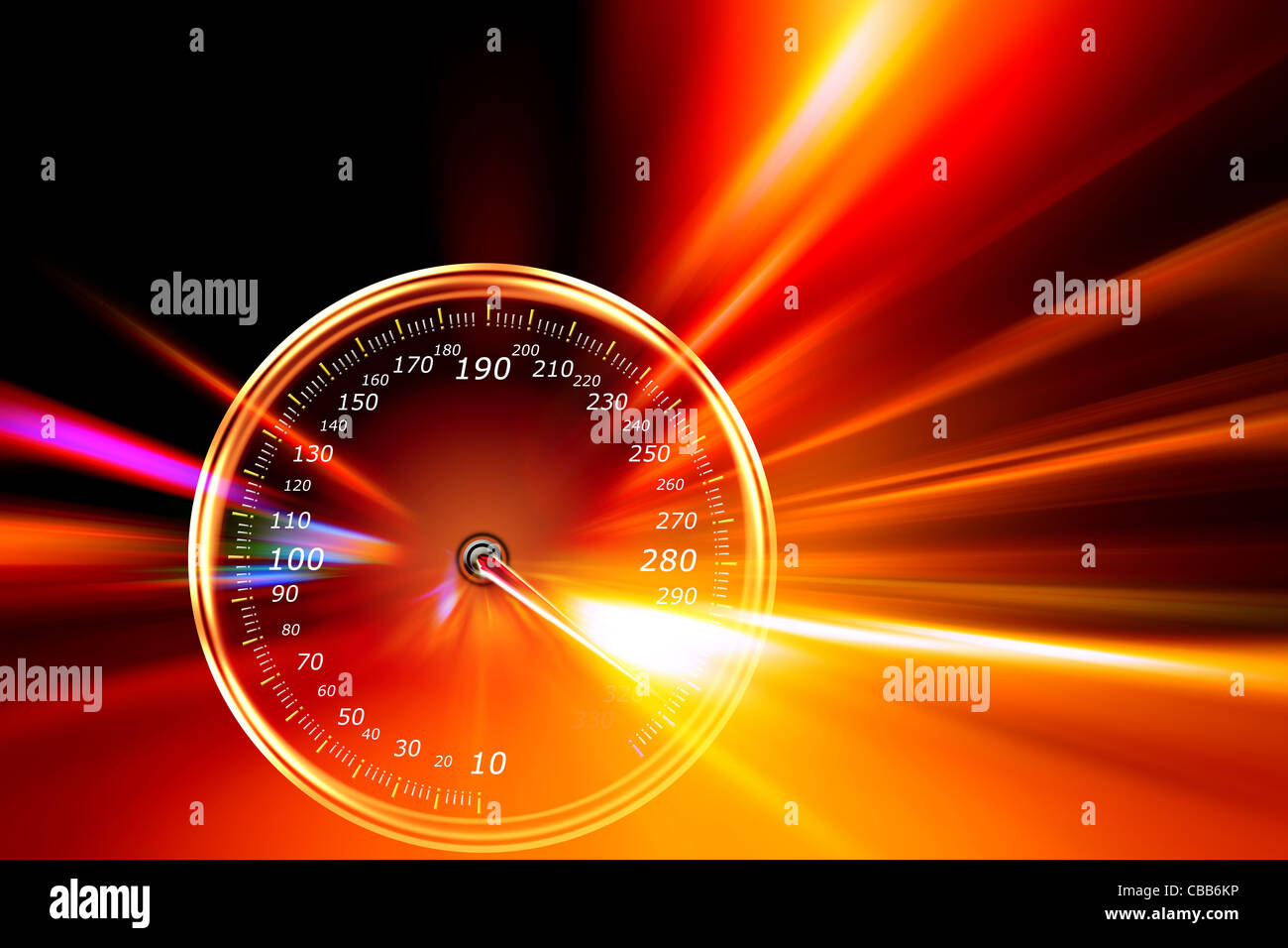 acceleration speedometer on night road - Stock Image