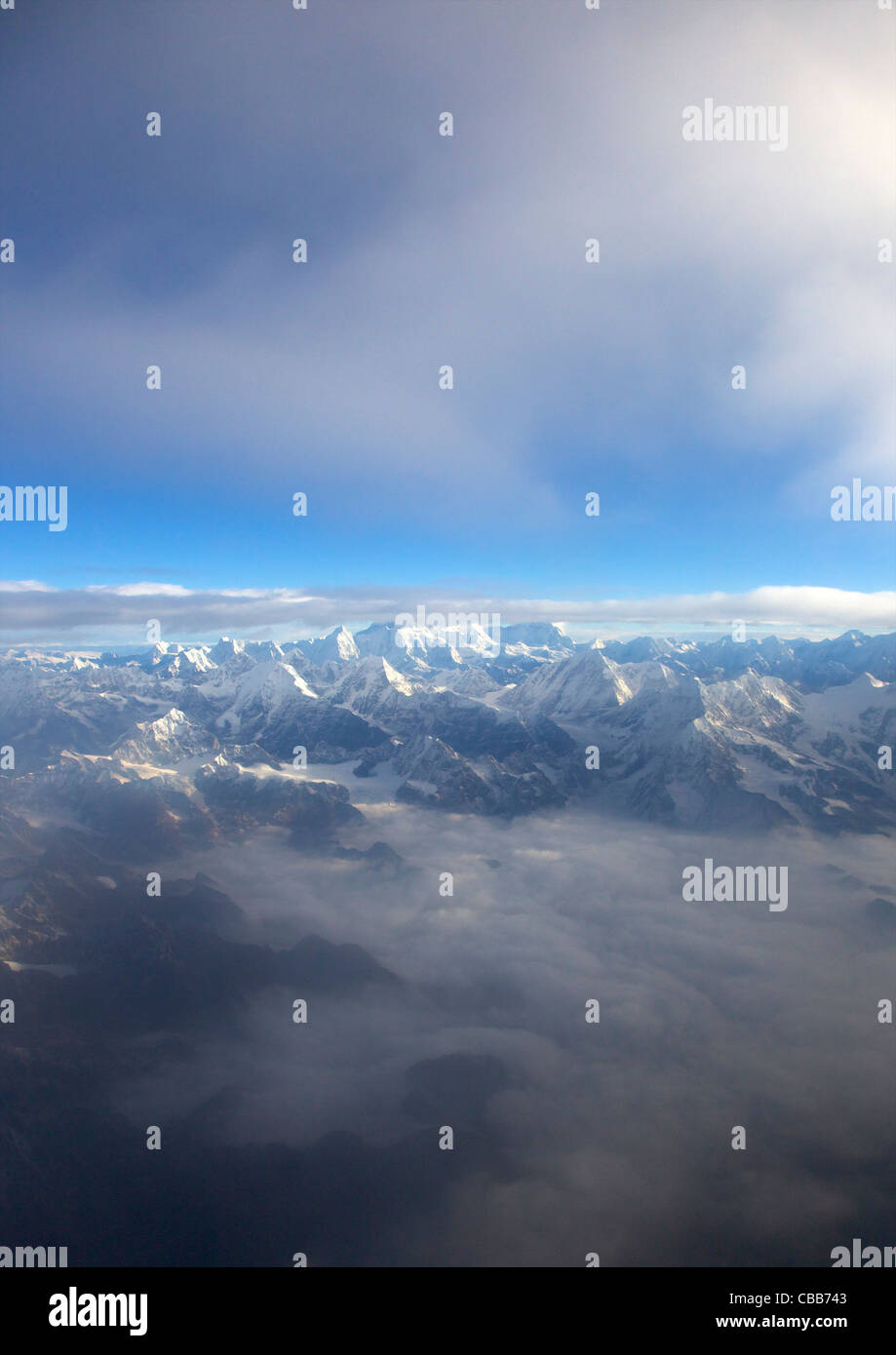 Aerial photograph of Himalayan mountains east of Kathmandu, Nepal, Asia - Stock Image