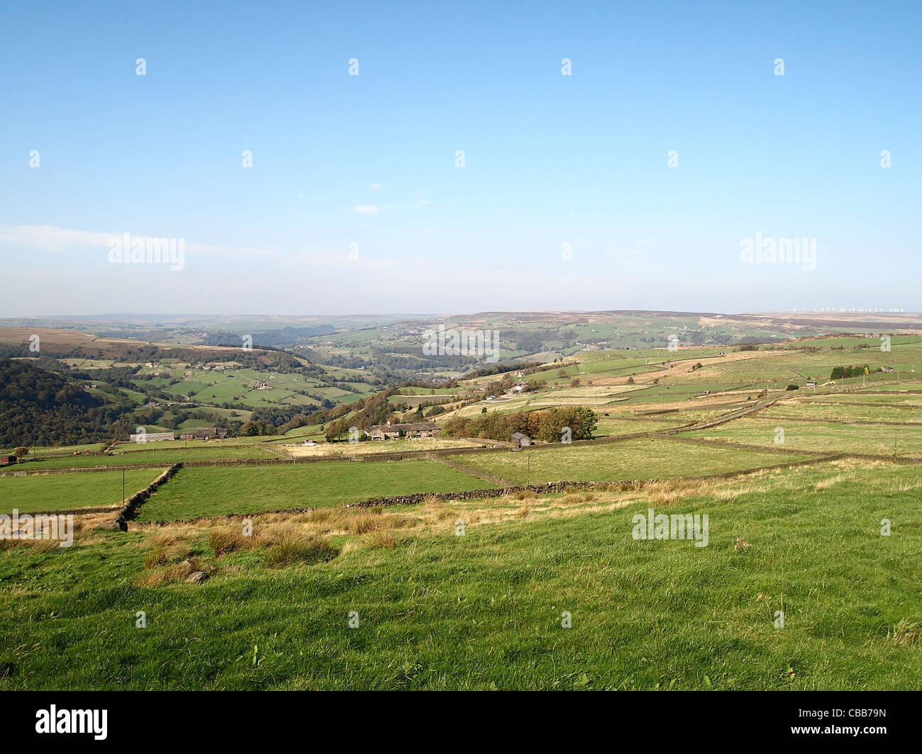 View looking north-west over Cragg Vale valley and the moors beyond, Calderdale, West Yorkshire - Stock Image