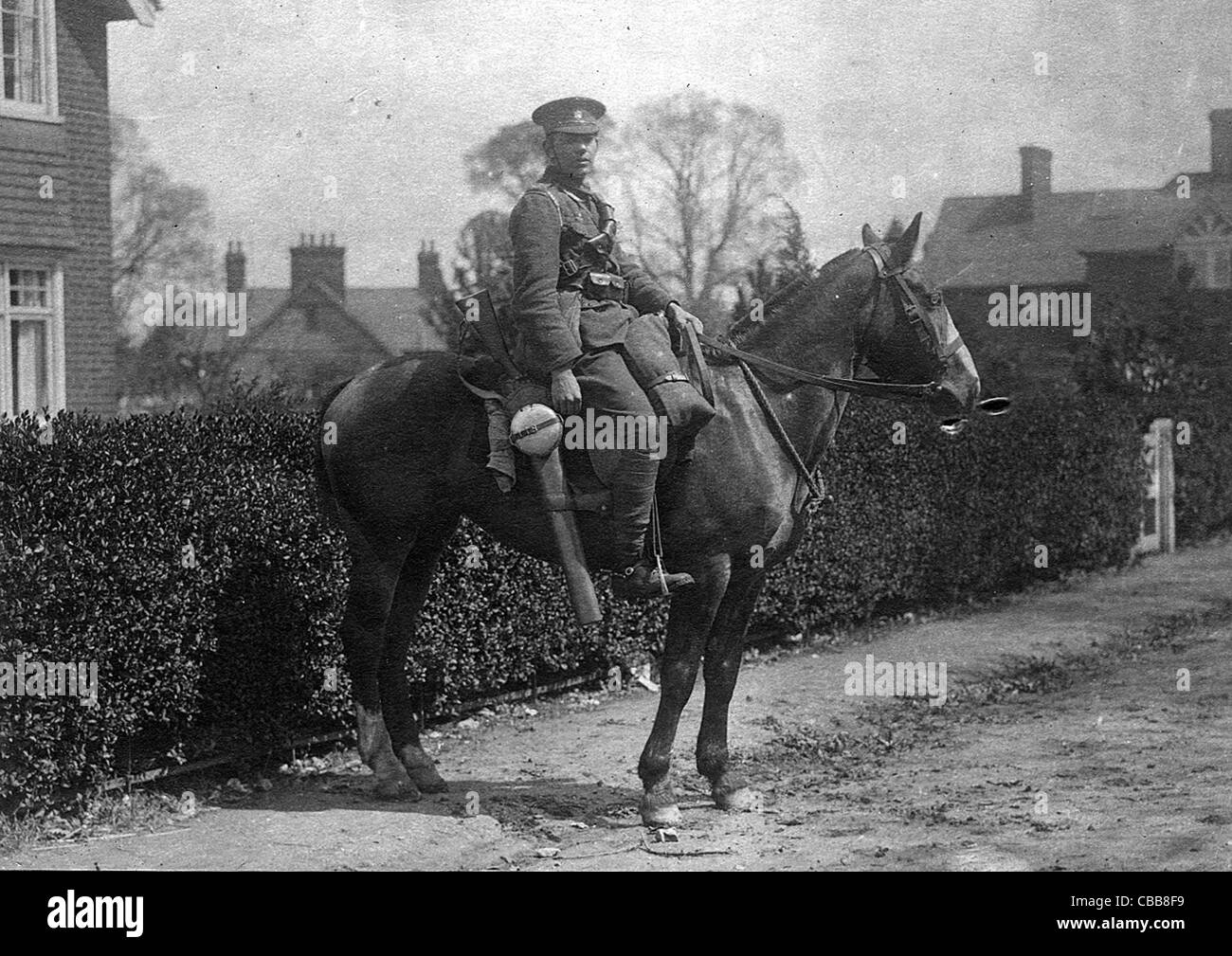 A WW1 mounted  British cavalry trooper with sword and equipment - Stock Image