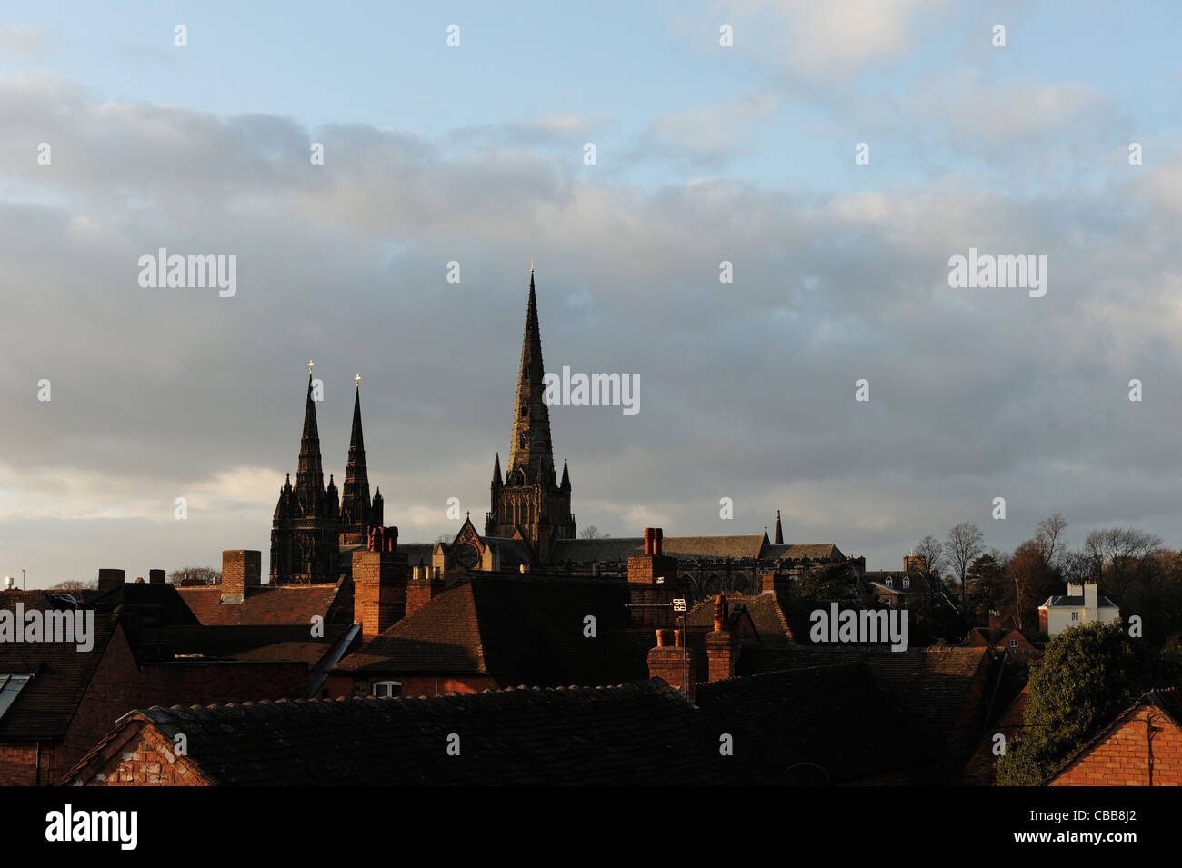 Lichfield Cathedral across rooftops - Stock Image