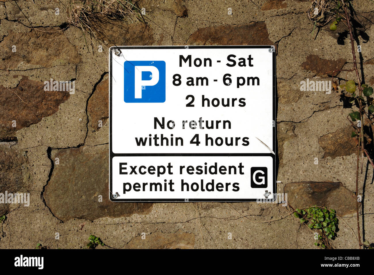 Car park sign for residents parking - Stock Image
