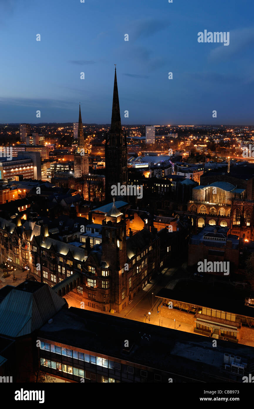 Coventry city centre at dusk - Stock Image