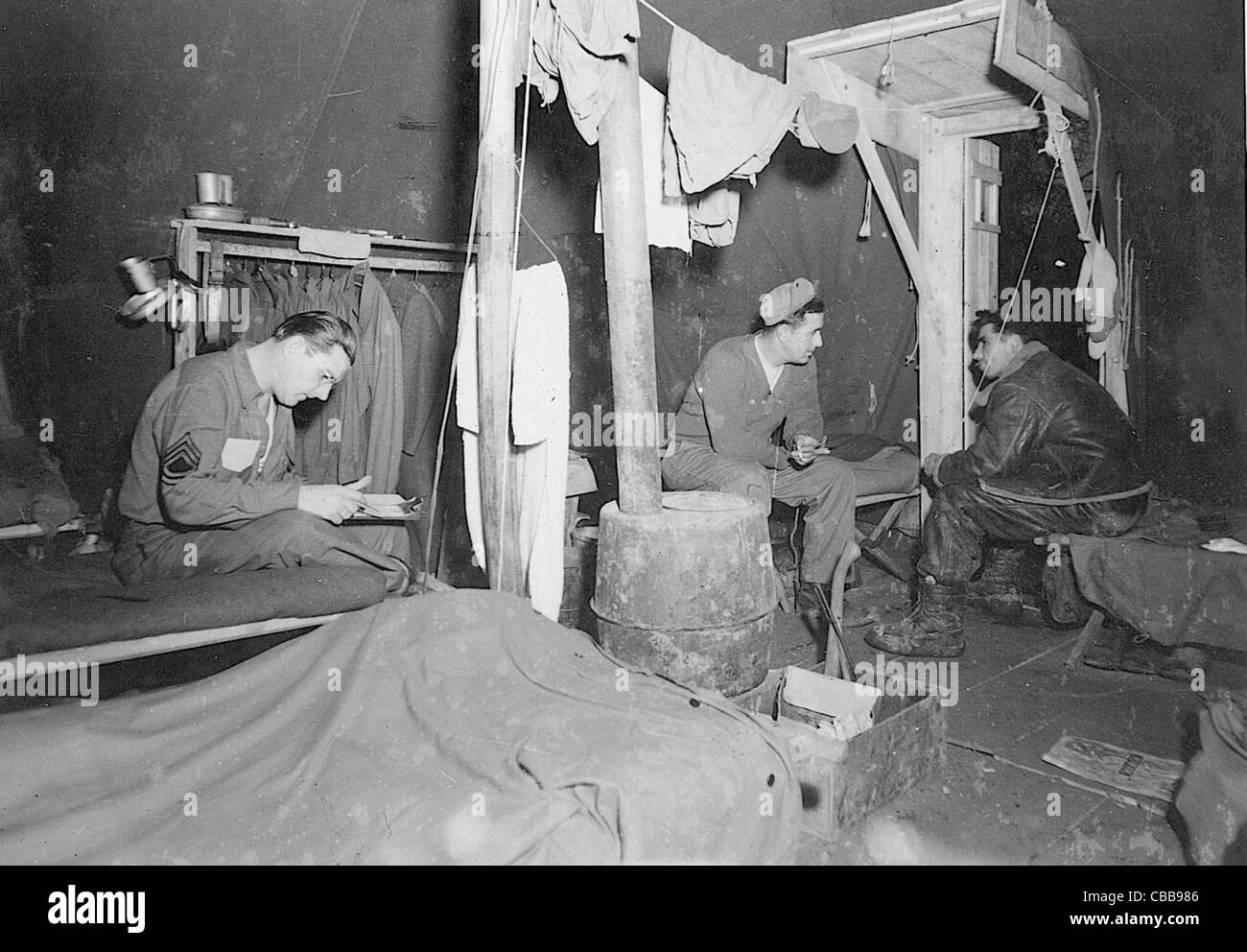 WW11 American USAAF airmen relax in their tented accommodation somewhere in France during the war. - Stock Image