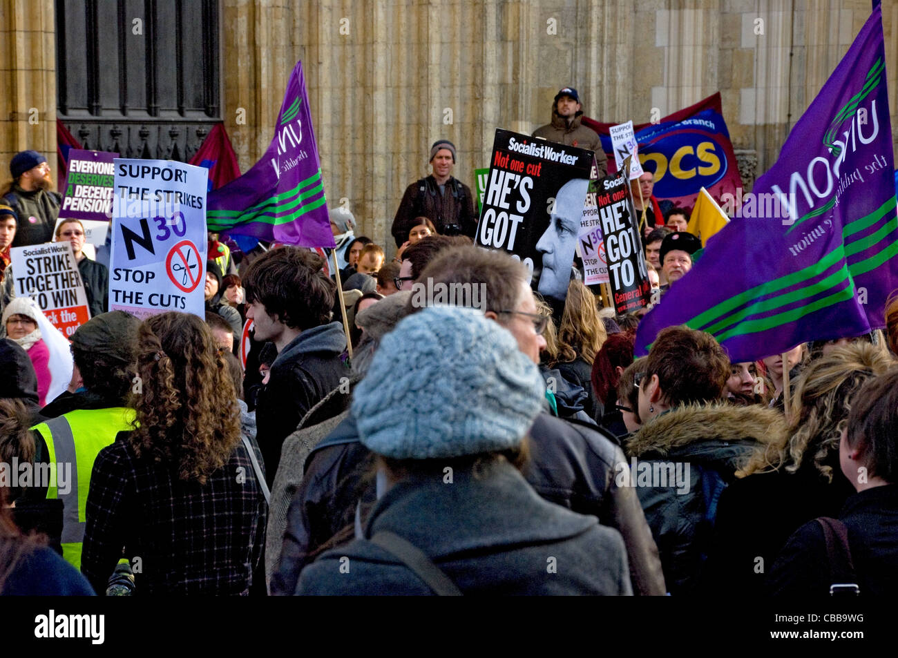 Public sector workers rally outside the Minster York North Yorkshire England UK United Kingdom GB Great Britain - Stock Image