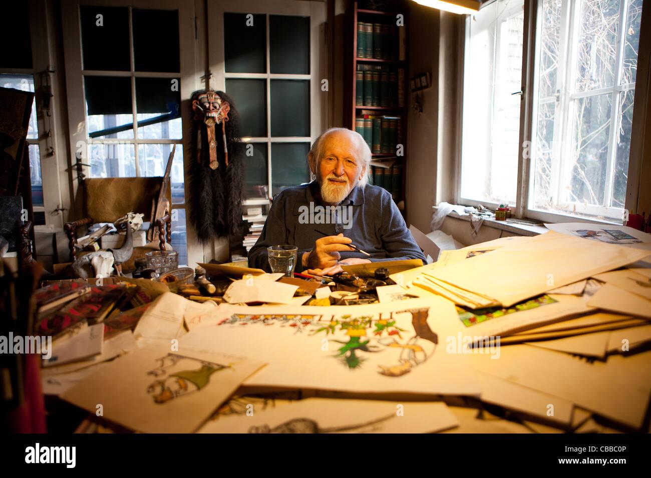 Czech painter, printmaker and cartoonist Jiri Winter-Neprakta in his atellier in Prague. (CTK Photo/Martin Sterba, Stock Photo