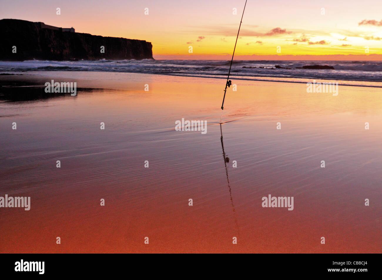 Portugal, Algarve: Sundown at beach Praia do Tonel in Sagres Stock Photo