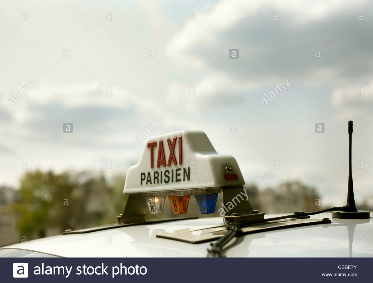 Close up of Parisian taxi light - Stock Image