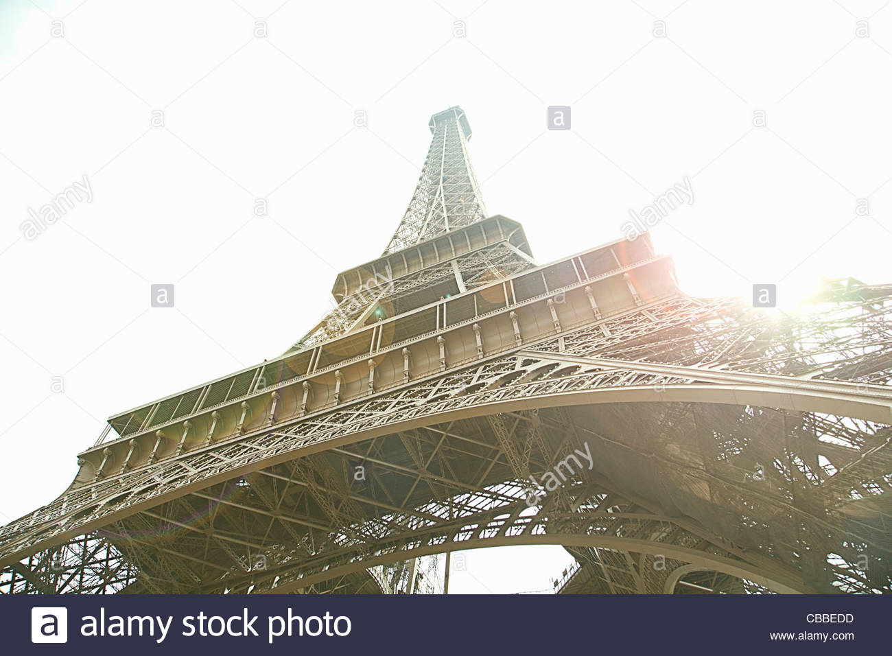 Low angle view of Eiffel Tower in Paris - Stock Image