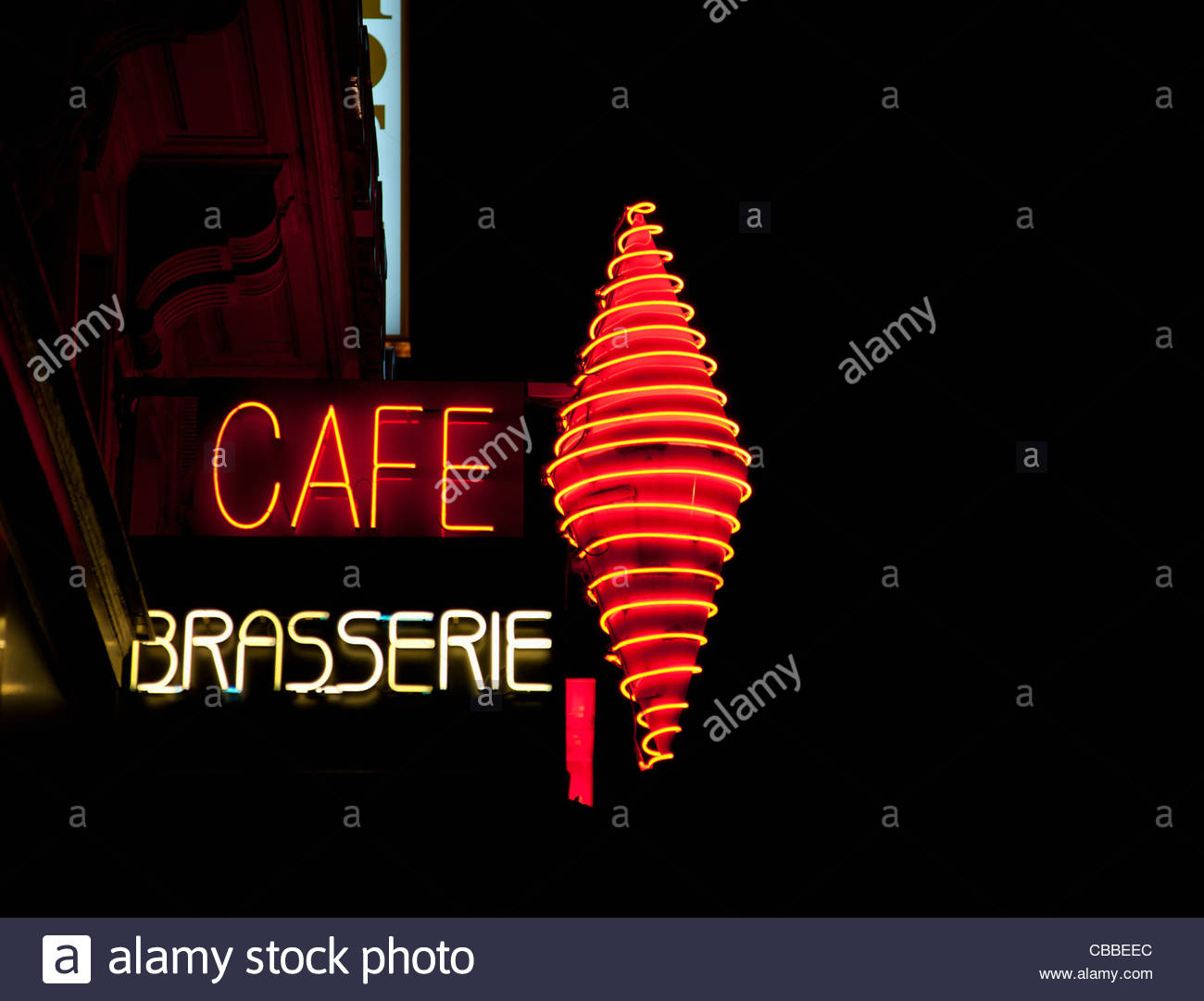 Neon cafe sign - Stock Image