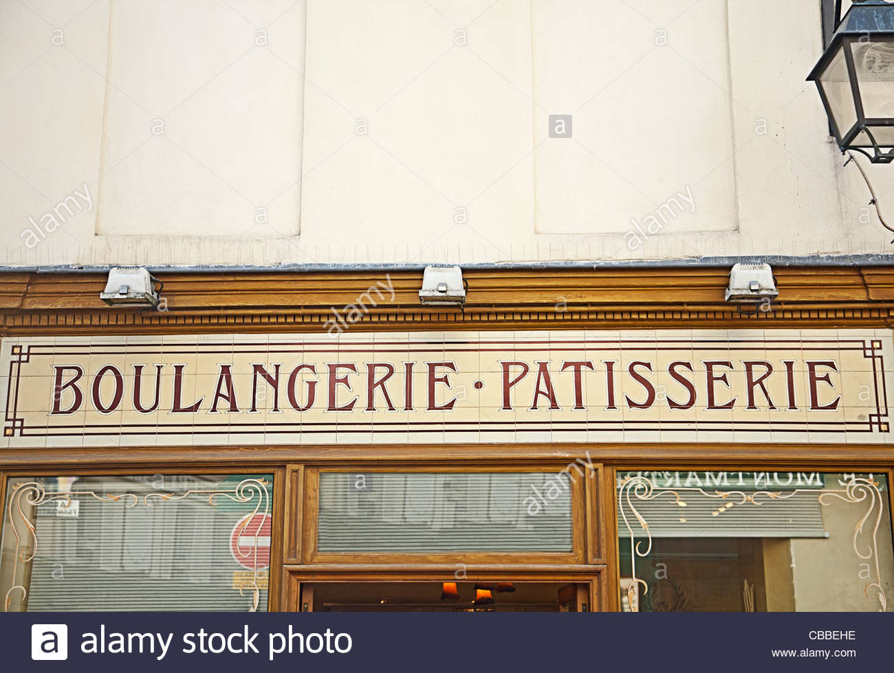 Boulangerie sign on French street - Stock Image