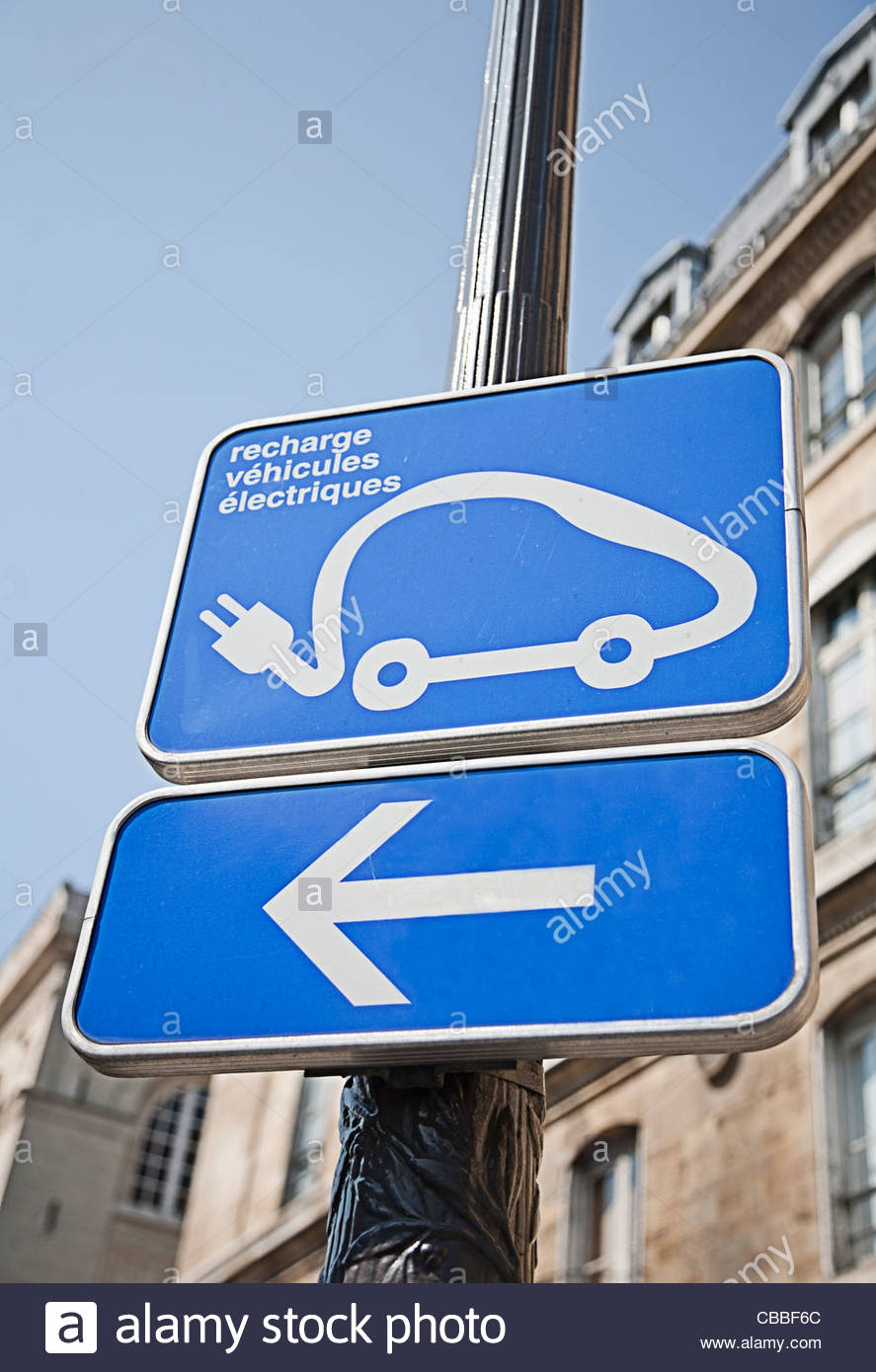 Electric car charging station sign - Stock Image