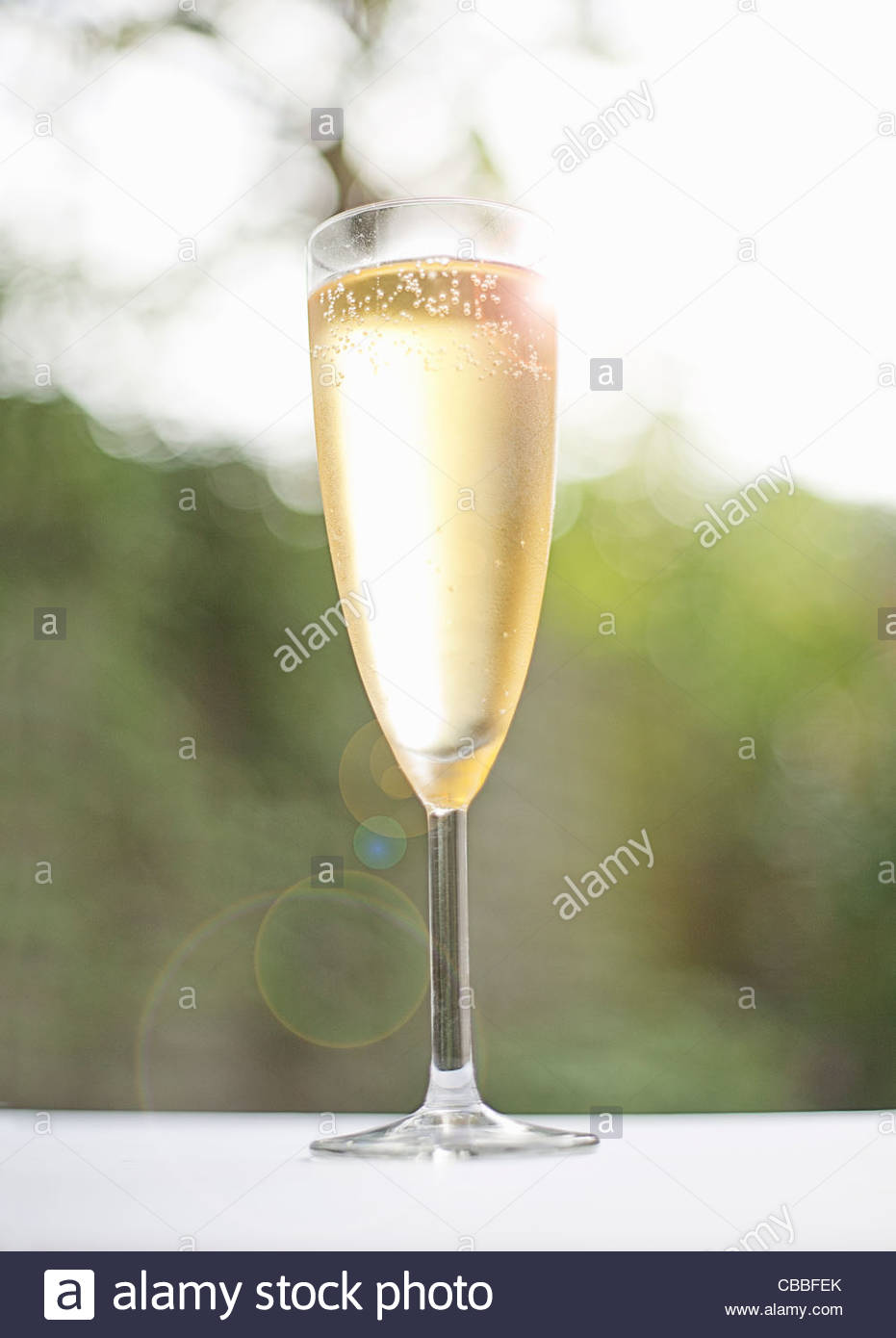 Glass of champagne outdoors - Stock Image