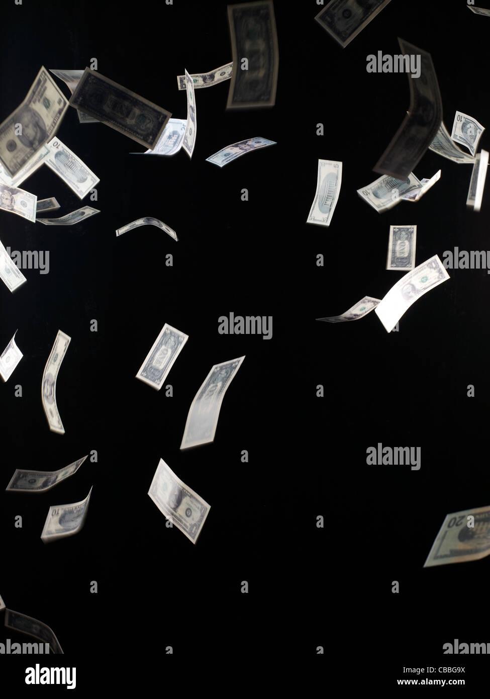 Dollars falling - Stock Image