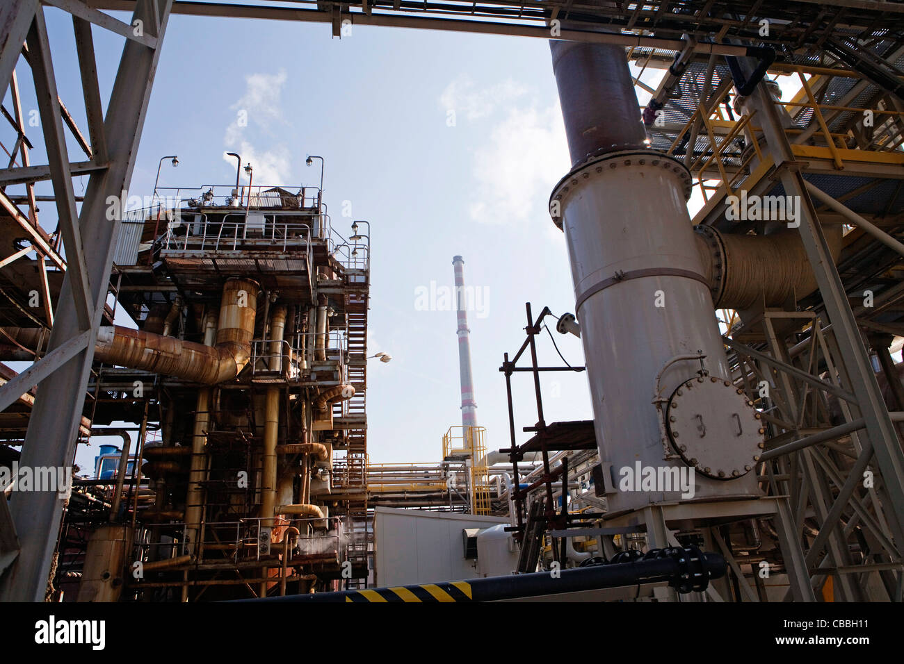 Old production site for sulfur dioxide,  at the chemical factory Spolana a.s.  Spolana a.s. is one of the most important - Stock Image