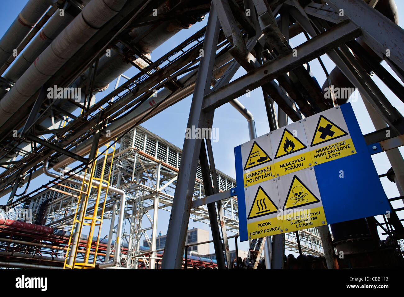 Security signs on an old production site for sulfur dioxide,  at the chemical factory Spolana a.s.  Spolana a.s. - Stock Image