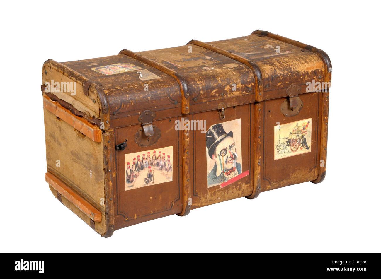 antique art background black box brown chest close color container decoration decorative design dirty equipment - Stock Image