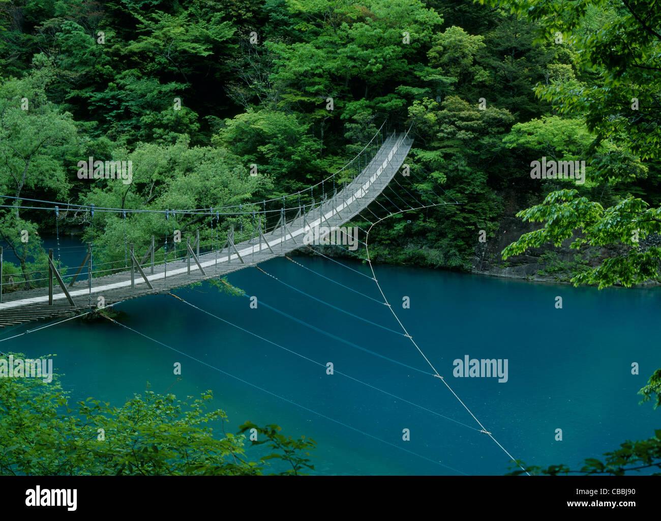 Sumata Gorge and Dream Suspension Bridge, Kawanehon, Shizuoka, Japan - Stock Image
