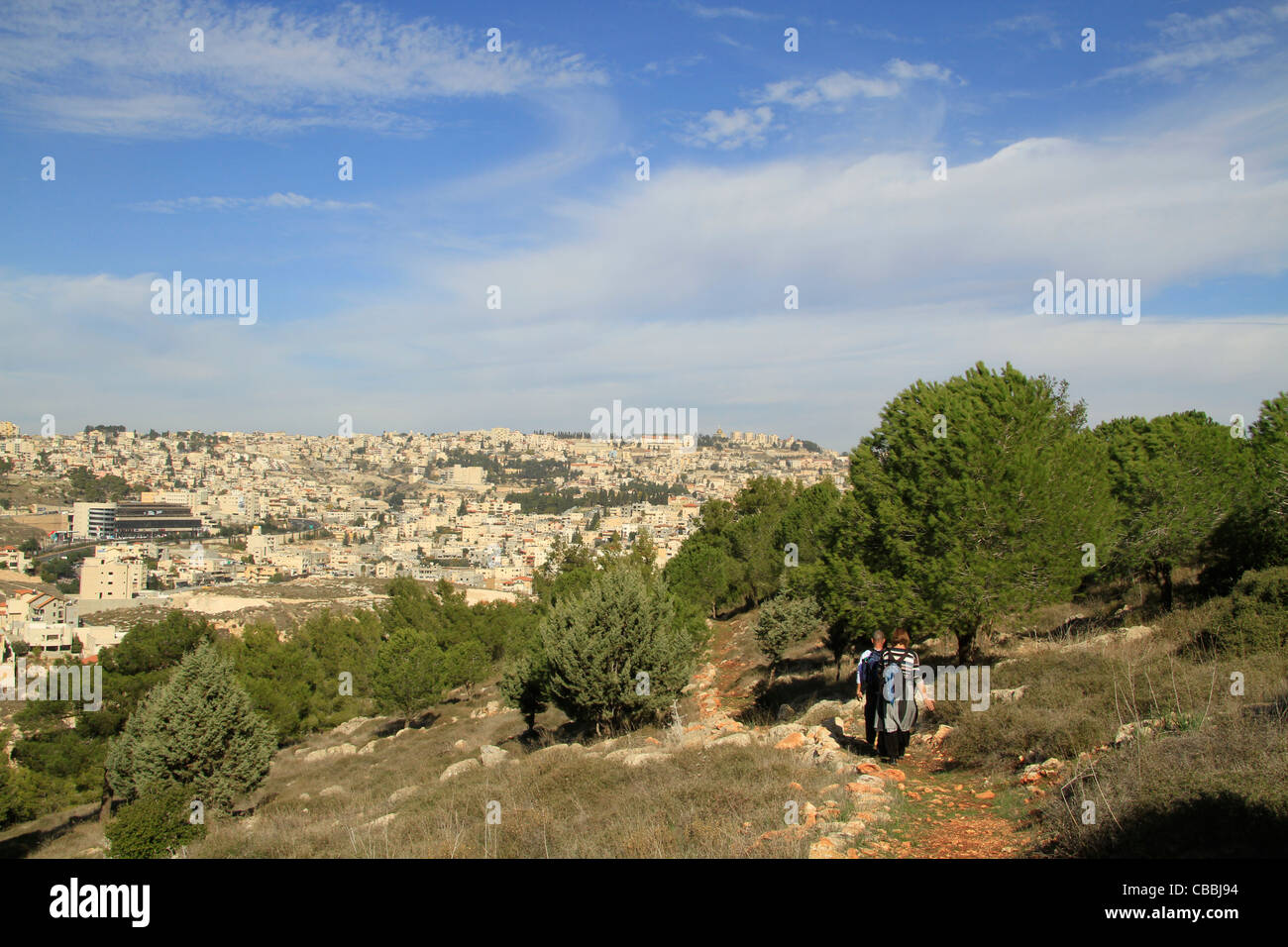 Israel, Lower Galilee, the Gospel Trail on Mount Precipice, Nazareth is in the background Stock Photo