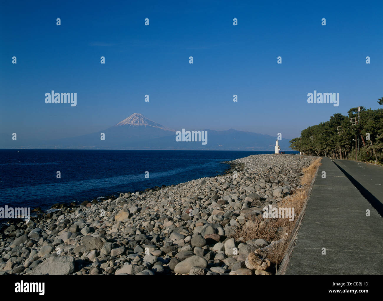 Cape Mihama and Mount Fuji, Numazu, Shizuoka, Japan - Stock Image