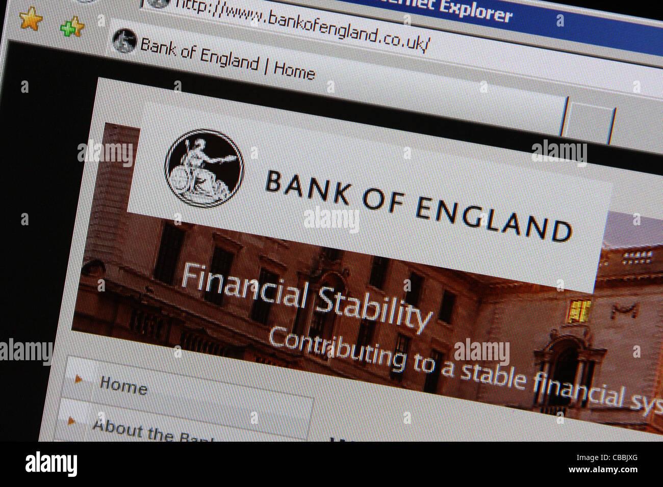 bank of england bankofengland website screen - Stock Image
