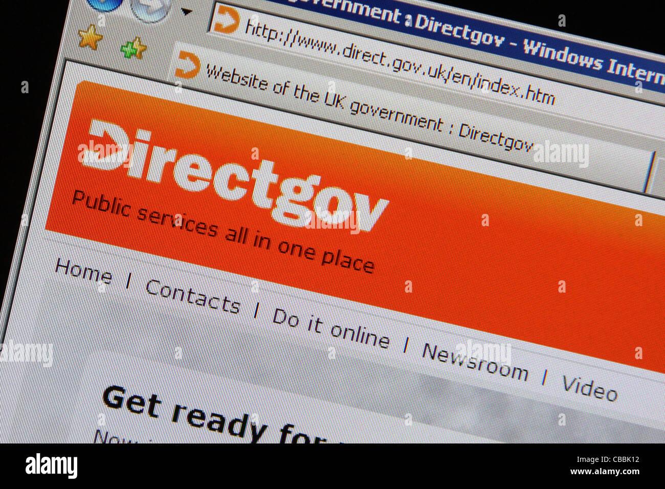 directgov direct.gov.uk website - Stock Image