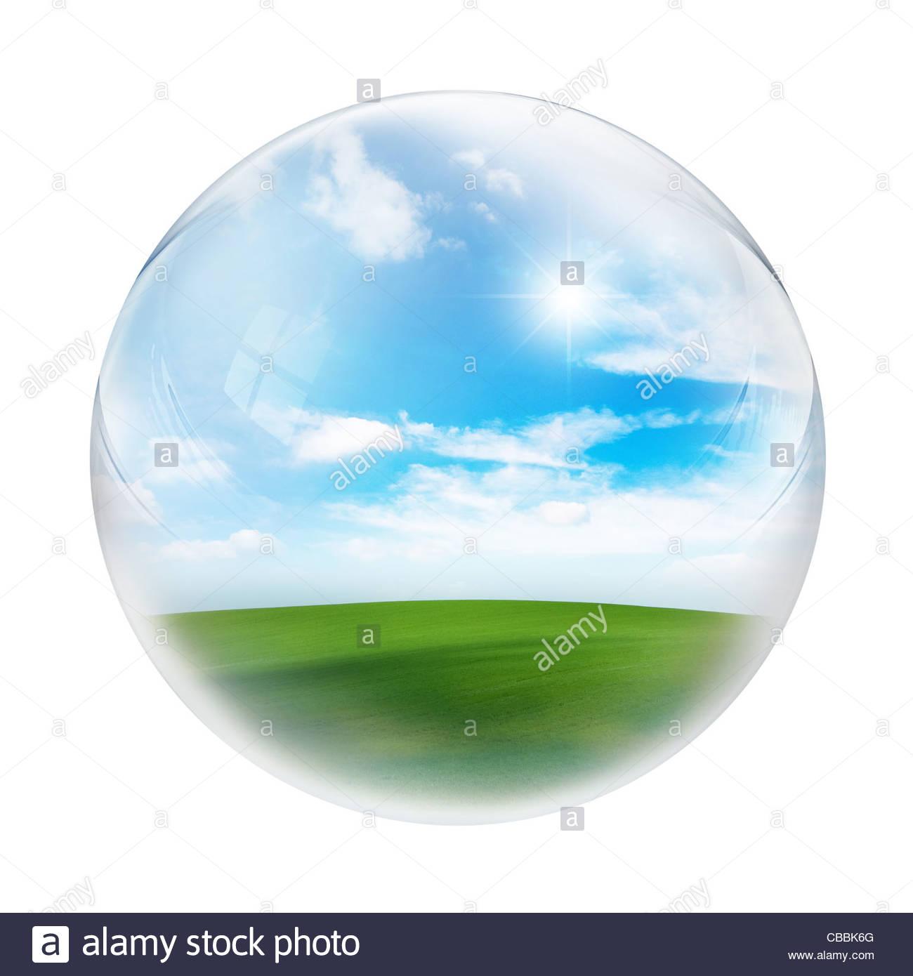 landscape inside sphere - Stock Image